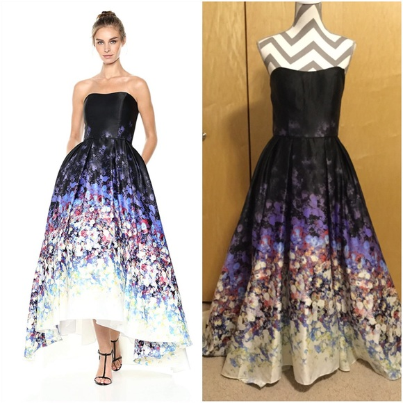 f874dcfbeb1 Betsy   Adam Women s Strapless Floral Ball Gown